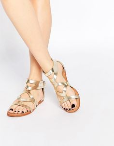 Image 1 of London Rebel Strap Flat Sandals Baleríny bb8b9f6636c7e