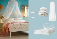 LEIRVIK white bed with BRYNE net and EMELINA KNOPP white/pink quilt cover and pillowcases