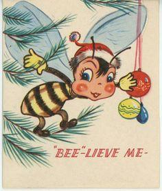 VINTAGE CUTE HONEY BEE HONEYBEE HIVE CHRISTMAS TREE GREETING CARD COLOR PRINT