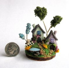 Handmade Miniature -  TWO COTTAGE FAIRY HOUSES IN SCENE - by C. Rohal #CRohal