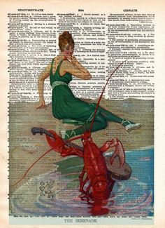 Vintage beach art, nautical art, lobster art print, old book page art