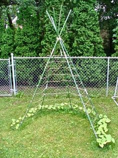 Need to do this for the beans this year and possibly cucumbers if I can do this with some heavy wire.  Possibly add some lettuce in the opening below or semi shade loving items.