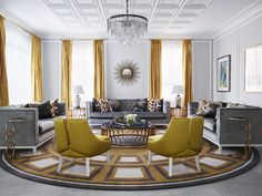 Yellow could be one of the hardest colours to paint with, but with these yellow living room ideas, you'll feel confident decorating sunny side up. From dandelion accents to all-over ochre decor, get inspired by this living room colour scheme. Living Room Color Schemes, Living Room Accents, Living Room Chairs, Living Room Decor, Salon Shabby Chic, Top Interior Designers, The Design Files, Minimalist Home, Room Colors