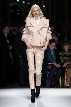 quilted leather and printed pants at balmain