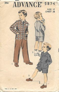 Advance 5874 1950s Boys Suit Vintage Sewing by GrandmaMadeWithLove