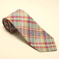 Vintage Bert Pulitzer for Maas Brothers Madras Plaid Cotton Neck Tie Made in USA #BertPulitzer #NeckTie
