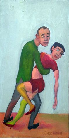 """Noche de tango"" tríptico, acrílico sobre tabla de madera, 58 x 28 cm, 2012"