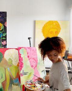 Art Hoe Aesthetic, Black Girl Aesthetic, Black Girl Art, Art Girl, Mini Canvas Art, Afro Art, Black Artists, Art Sketchbook, Artist At Work