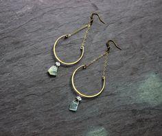 Aquamarine Raw Hermiker Diamond earrings / blue crystal handmade jewelry