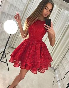 Cute lace short prom dress, homecoming dress