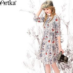 Artka Women's Autumn New Fashion O-Neck Full Sleeve Printed Patchwork Comfy Chiffon Dress Winter Dresses, Day Dresses, Dresses For Work, Bohemian Style, Boho Chic, New Fashion, Boho Fashion, Boho Life, Leather And Lace