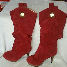 NWT Faux Suede Heeled Boots Red/Burgundy heeled boot with Cheetah lining interior Shoes Heeled Boots