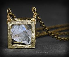 "RAW DIAMOND NECKLACE - Floating Cube Pendant, Vintage Gold 24"" Chain - 11 Main"