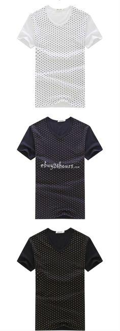 Short Sleeve 100% Cotton Scoop Neck Polka Dot T Shirts Mens $14.99