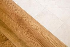 Learn how to make T-molding transition strips for hardwood, carpet and tile flooring, including tools and materials needed. Light Oak Floors, Red Oak Floors, Laminate Flooring, Kitchen Flooring, Hardwood Floors, Flooring Ideas, Engineered Hardwood, Honey Oak Trim, Painting Wood Trim