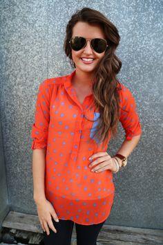 orange and blue dot tunic @ the Rage