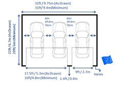 Triple Garage Dimensions With 2 Doors Including Garage Door Dimensions.  Click Through For More On