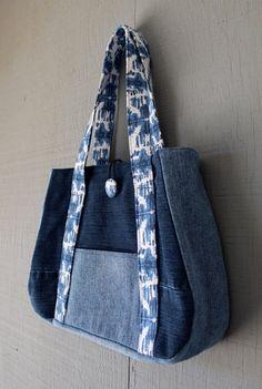 Denim Front Pocket Handbag Fabric Straps Button & by AllintheJeans