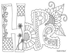 "Free doodle Art coloring pages, very cute one word ""mantra type doodles. Bible Coloring Pages, Printable Coloring Pages, Adult Coloring Pages, Free Coloring, Coloring Sheets, Coloring Books, Kids Coloring, Doodle Coloring, Cool Coloring Pages"