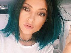 Sublime smokey teal blue hued dark emerald hair...