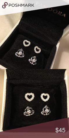 "PANDORA sterling silver stud set ! Authentic sterling silver PANDORA studs ""be my valentine"" and ""my princess"" stud pairs ! Backings are included ! Box not included. Studs come in pandora charm bags ! Pandora Jewelry"