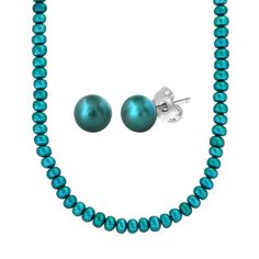 "Teal Freshwater Cultured Button Pearl Necklace and Stud Earrings Set with Stainless Steel Clasp (6-7mm ), 18+2"" Extender: Jewelry: Amazon.com"