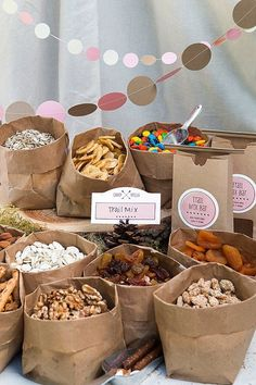 Camp-Themed Birthday Party for Kids. This is the trail mix bar. Love the cute brown paper bags!