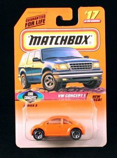 VW CONCEPT 1 * ORANGE * COOL CONCEPTS Series 3 MATCHBOX 1998 Basic Die-Cast Vehicle (#17 of 75) by Mattel. $1.99. VW CONCEPT 1 * ORANGE * COOL CONCEPTS Series 3 MATCHBOX 1998 Basic Die-Cast Vehicle (#17 of 75). Vehicle measures approximately 2.5 inches long. New Deco!. From Mattel. ORIGINALLY RELEASED IN 1998 - RETIRED / OUT OF PRODUCTION. Ages 3+. MATCHBOX® Car Collection: Contemporary, classic Matchbox® die-cast vehicle that offer great detail just for kids. Any Matchbox®...