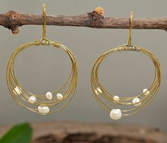 Brass drop multiple circle earrings with white  fresh water pearls by NataliaNorenasilver on Etsy