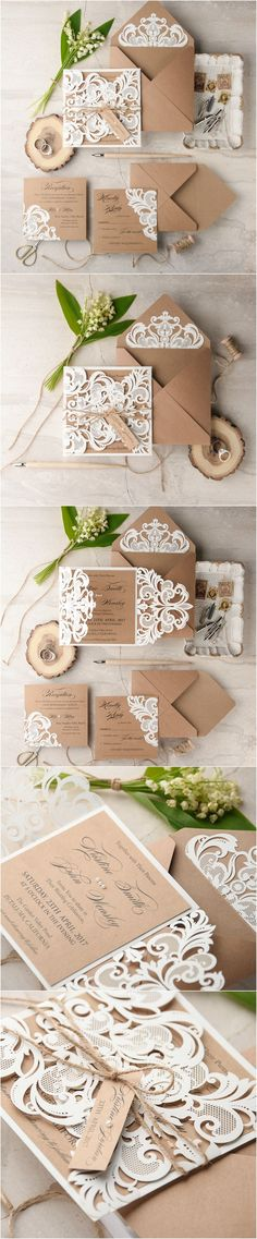 Laser Cut Lace Rustic Romantic Wedding Invitations from 4lovepolkadots