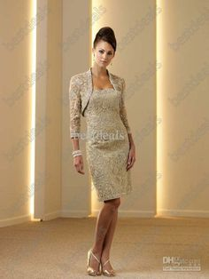 Wholesale 2013 Sweetheart Champagne Mother of the Bride Dresses with Lace Bolero Jacket and Knee Length 111D21, Free shipping, $123.2-135.52/Piece | DHgate