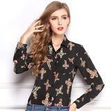 New Arrival Turn-down Collar Female Printed Cross Pattern Temperament Long Sleeved Shirt Chiffon Blouse-Women's Blouses-Enso Store-Black-L-Enso Store