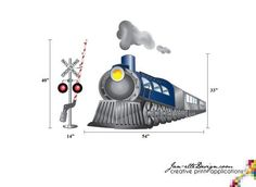 train wall decals | Train Wall Decal Red Locomotive Fabric Wall Decal by JanetteDesign