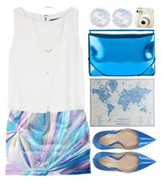"""""""Holographic skirt"""" by grozdana-v ❤ liked on Polyvore featuring Deimille, Alice + Olivia, MM6 Maison Margiela, Pier 1 Imports, Charlotte Russe and Carmex"""