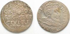 1594 Riga RIGA 3 Groschen (Trojak) 1594 GE SIGISMUND III of POLAND silver VF-XF! # 95132 VF-EF