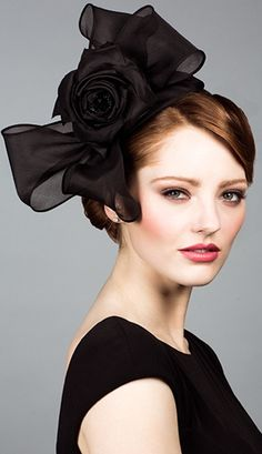 Rachel Trevor Morgan, S/S 2014. Silk organza bow headdress with flower. #passion4hats