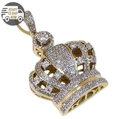 1.00 Ct Round Cut Simulated Diamond Bubble Number7 Pendant Solid 10K Yellow Real Gold