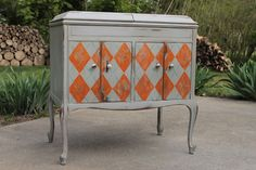 gray and orange sideboard