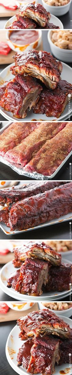 Fall of the bone barbecue ribs cooked on the grill then smothered in saucy tangy BBQ Sauce! Who knew you could enjoy amazing ribs, right at home? Grilled Bbq Ribs, Barbecue Ribs, Ribs On Grill, Grilled Meat, Pork Ribs, Pulled Pork, Bbq Grill, Slow Cooking, Cooking On The Grill