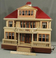 Large Antique Moritz Gottschalk German Red-Roof Wood Doll House Original Unrestored Condition