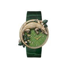 ~Les Indomptables de Cartier brooch watch with crocodile motif, case in 18K yellow gold with 214 brilliant-cut diamonds (2.69 cts)~
