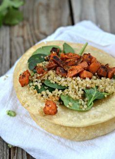 Crispy Quinoa & Spicy Sweet Potato Tacos   mountainmamacooks.com