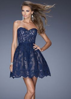 navy blue cocktail dress lace | 2014 Navy Blue Sweetheart Lace Cover Short Prom Dress