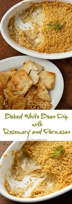 This healthy and delicious baked white bean dip with rosemary and parmesan is easy to whip up and serve at your next party. If you're looking for a healthy super bowl dip recipe, this would be perfect served with pita chips! | pinchmysalt.com