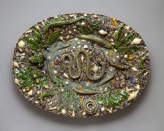 Platter, last quarter of 16th century  School of Bernard Palissy (French, 1510–1589)  Made in France  Lead-glazed earthenware