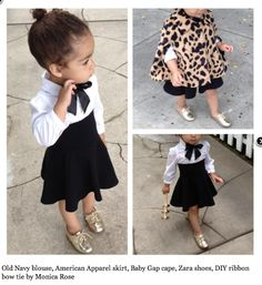 Old Navy blouse, American Apparel skirt, Baby Cap cape, Zara shoes, DIY ribbon bow tie by Monica Rose