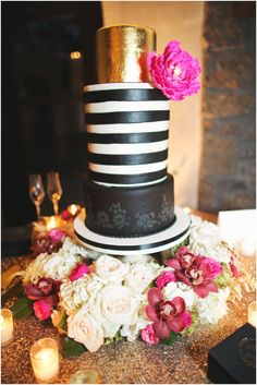 #LoveBirdsSweets #WeddingCake #BlackandGold. Image courtesy of EEPhotography.