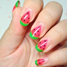 Watermelon nails. so cute and summery! ☀️