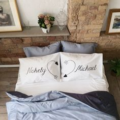 Personalized couple custom Names pillow His Her pillowcases Heart Wedding Gift couples pillow cases Pillow Case Set 2nd cotton anniversary