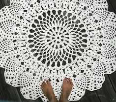 """Custom Made Cotton Crochet Rug In Large 42"""" Circle Pineapple Lacy Pattern"""